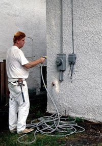 Washing Stucco Wall
